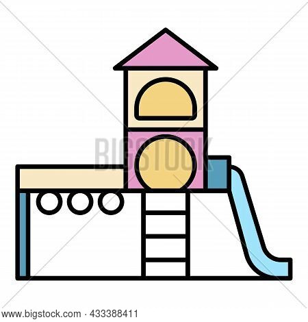 Kid Playground Complex Icon. Outline Kid Playground Complex Vector Icon Color Flat Isolated