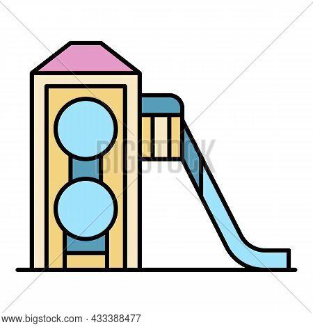 Wood Kid Slide Icon. Outline Wood Kid Slide Vector Icon Color Flat Isolated