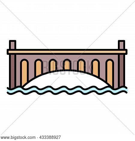 Romantic Bridge Icon. Outline Romantic Bridge Vector Icon Color Flat Isolated