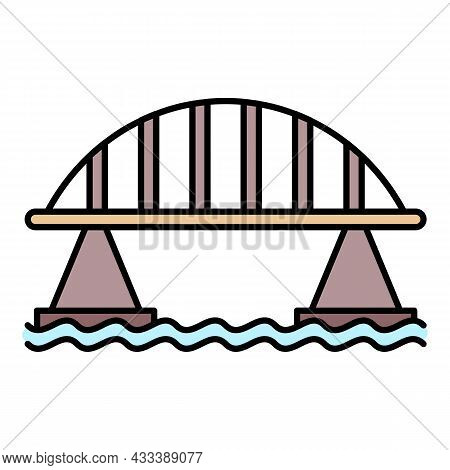 Viaduct Bridge Icon. Outline Viaduct Bridge Vector Icon Color Flat Isolated