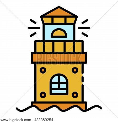 Ocean Lighthouse Icon. Outline Ocean Lighthouse Vector Icon Color Flat Isolated