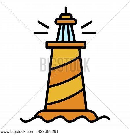 Landmark Lighthouse Icon. Outline Landmark Lighthouse Vector Icon Color Flat Isolated