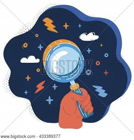 Vector Illustration Of Magnifier. Magnifying Glass In Human Han Zoom Tool