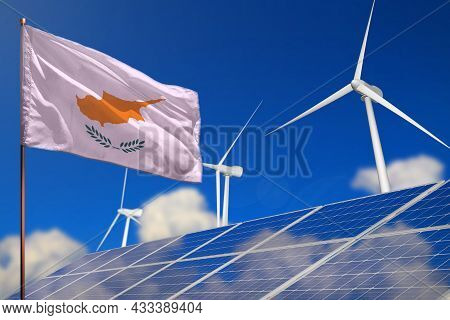 Cyprus Renewable Energy, Wind And Solar Energy Concept With Wind Turbines And Solar Panels - Alterna