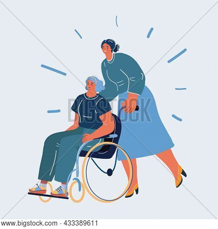 Vector Illustration Of Disabled Person In Wheelchair And Her Assistent.