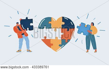 Vector Illustration Of Man And Woman Build Jigsaw Puzzle In The Red Heart.