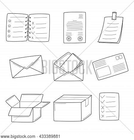 A Set Of Linear Icons With Paper Documents, A Sticker, Correspondence, Mail, Envelopes, Boxes. Unpac