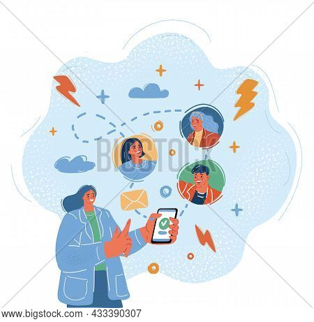 Vector Illustration Of Mobile Messenger Concept. Young People Using Mobile Smartphone For Texting An