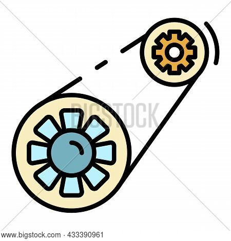 Car Timing Belt Icon. Outline Car Timing Belt Vector Icon Color Flat Isolated