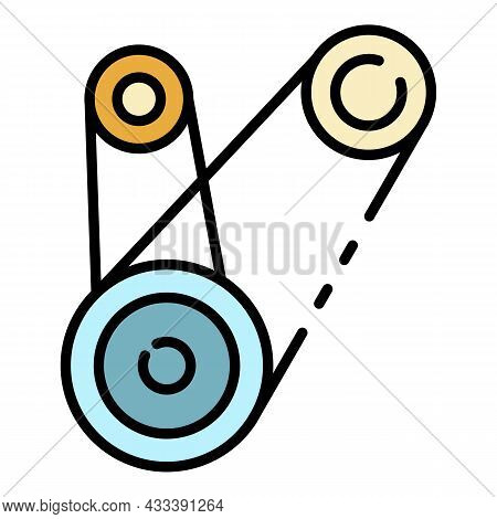 Motor Timing Belt Icon. Outline Motor Timing Belt Vector Icon Color Flat Isolated