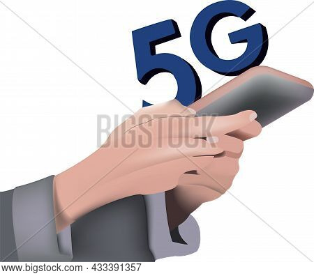 Person With Mobile Phone With 5g Connection