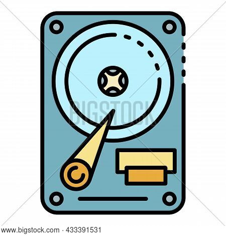 Hard Disk Drive Icon. Outline Hard Disk Drive Vector Icon Color Flat Isolated