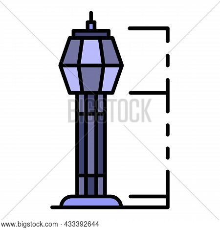 Airport Tower Icon. Outline Airport Tower Vector Icon Color Flat Isolated