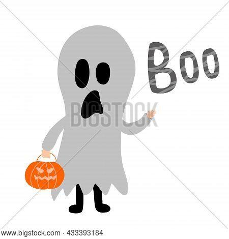 Cartoon Kid In Ghost Halloween Costume With Pumpkin. With Sign Boo. Vector