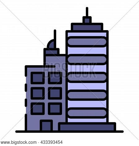 City Buildings Icon. Outline City Buildings Vector Icon Color Flat Isolated