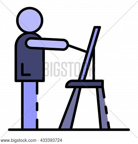 Man Draw House Plan Icon. Outline Man Draw House Plan Vector Icon Color Flat Isolated