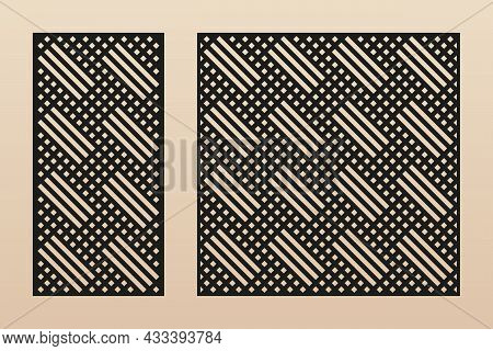 Laser Cut Panel. Abstract Geometric Pattern With Lines, Rhombuses, Squares, Grid. Decorative Templat