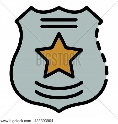 Police Emblem Icon. Outline Police Emblem Vector Icon Color Flat Isolated