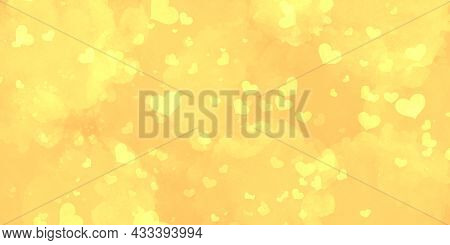 Cute Romantic Light Bright Yellow Love Background With Many Hearts. Basis For Postcards And Banners