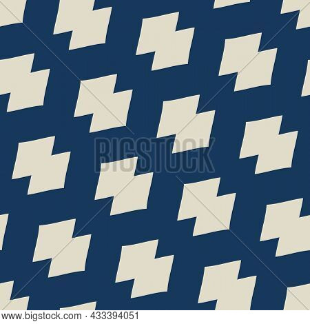 Vector Navy Modern Geometric Grid Pattern. Seamless Illustration With Abstract Blue Shapes. Backgrou