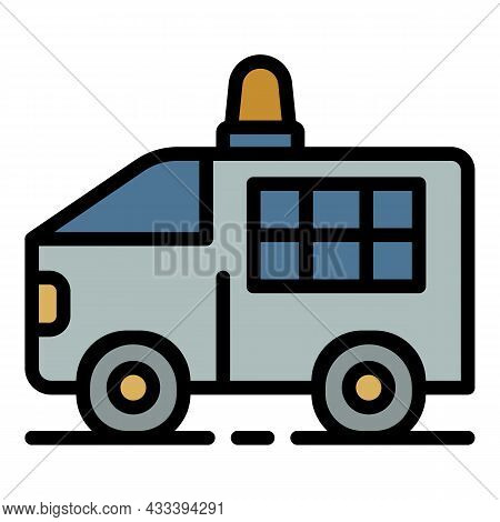 Police Truck Icon. Outline Police Truck Vector Icon Color Flat Isolated