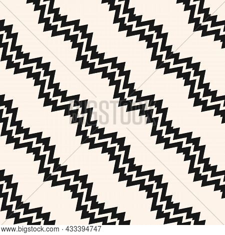 Seamless Ethnic Pattern. Vector Background With Black And White Diagonal Zigzags And Lines. The Back