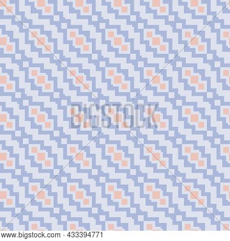 Vector Geometric Ethnic Pattern. Seamless Abstract Tribal Illustration With Light Blue And Pink Diag