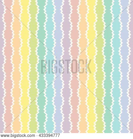 Seamless Funky Colorful Pattern. Abstract Vector Illustration With Rainbow Zigzag Shapes, Lines. Fun