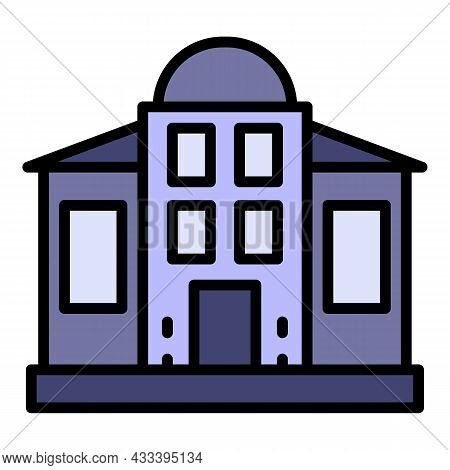 Courthouse Building Icon. Outline Courthouse Building Vector Icon Color Flat Isolated