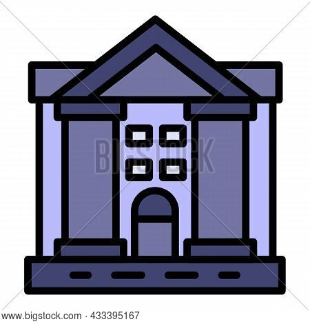 Justice Courthouse Icon. Outline Justice Courthouse Vector Icon Color Flat Isolated