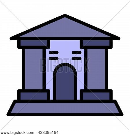 Museum Building Icon. Outline Museum Building Vector Icon Color Flat Isolated