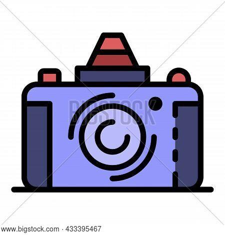 Retro Camera Icon. Outline Retro Camera Vector Icon Color Flat Isolated