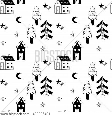 Cozy Home Seamless Pattern. Cute Little Forest Houses In Night, Moon And Cloud, Hand Drawn Doodle Sc
