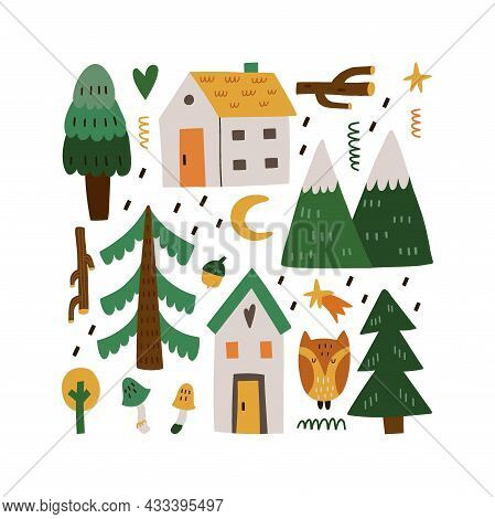 Forest Home. Cute Little Forest Houses, Eve Tree Mountains And Mushrooms , Hand Drawn Doodle Scandin