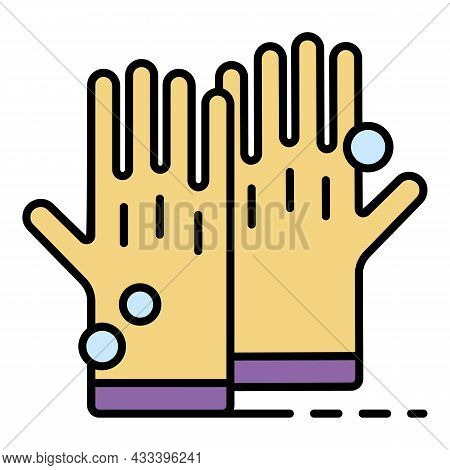 Cleaning Rubber Gloves Icon. Outline Cleaning Rubber Gloves Vector Icon Color Flat Isolated