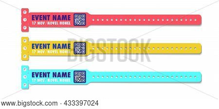 Bracelet Vector Template Event Access Different Color Set For Id Fan Zone Or Vip, Party Entrance, Co