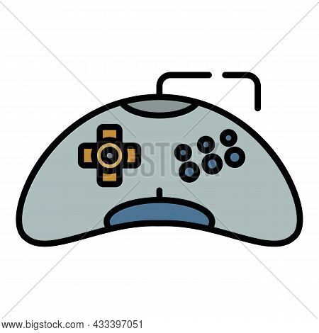 Plastic Game Joystick Icon. Outline Plastic Game Joystick Vector Icon Color Flat Isolated