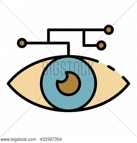 Artificial Learning Eye Icon. Outline Artificial Learning Eye Vector Icon Color Flat Isolated
