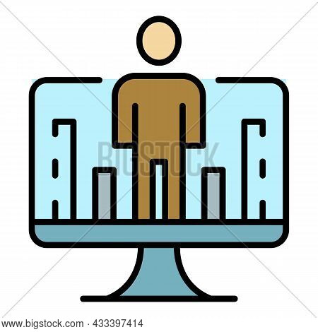 Online Web Learning Icon. Outline Online Web Learning Vector Icon Color Flat Isolated