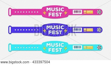 Bracelet Music Fest Event Access Vector Template Different Color For Id Fan Zone Or Vip, Party Entra