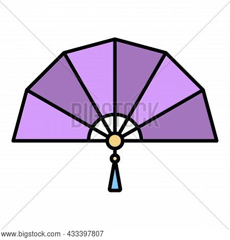 Japan Handheld Fan Icon. Outline Japan Handheld Fan Vector Icon Color Flat Isolated