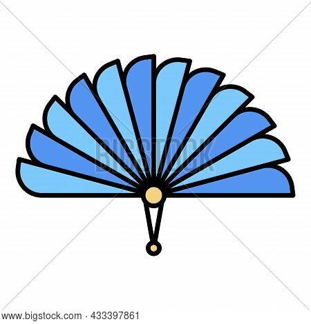 Asian Handheld Fan Icon. Outline Asian Handheld Fan Vector Icon Color Flat Isolated