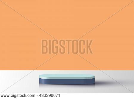 3d Realistic Blue Geometric Podium Stand Platform On Stage Showcase Yellow Minimal Scene Background.