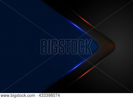 Abstract Black Arrow Layer With Blue And Red Light On Blue Background With Haxagon Pattern Mesh Text