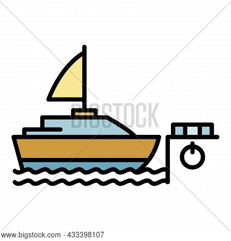 Sailboat In Port Icon. Outline Sailboat In Port Vector Icon Color Flat Isolated