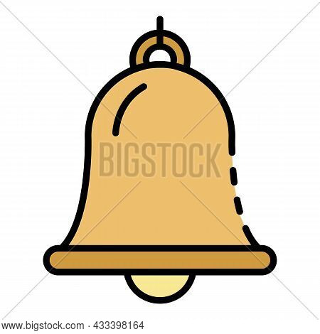 Marine Port Bell Icon. Outline Marine Port Bell Vector Icon Color Flat Isolated