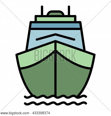 Front Cargo Ship Icon. Outline Front Cargo Ship Vector Icon Color Flat Isolated