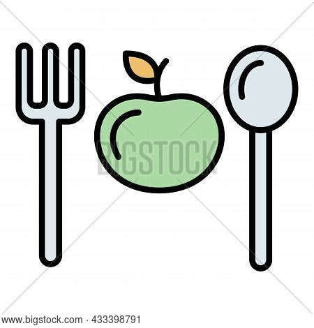 Fitness Diet Icon. Outline Fitness Diet Vector Icon Color Flat Isolated