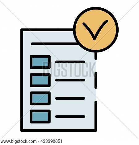 Diet Checklist Icon. Outline Diet Checklist Vector Icon Color Flat Isolated