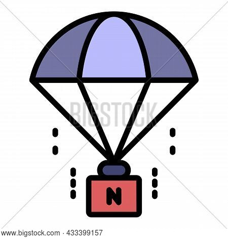Box Parachute Icon. Outline Box Parachute Vector Icon Color Flat Isolated